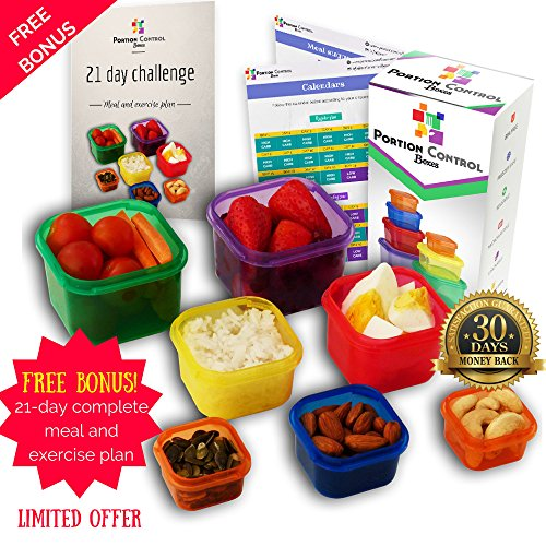 Portion Control Boxes - 7 Piece Portion Control Containers Kit for Weight Loss. COMPLETE GUIDE + 21 Day Meal TRACKER + FULL Meal Plan E-BOOK Included. Comparable to Beachbody 21-Day Fix, Color-Coded