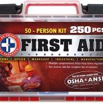 """""""Be Smart Get Prepared 250 Piece First Aid Kit, Exceeds OSHA ANSI Standards for 50 People – Office, Home, Car, School, Emergency, Survival, Camping, Hunting, and Sports """""""