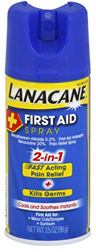 Lanacane First Aid Spray, Antiseptic & Pain Relief Spray for Cuts and Sunburns, 3.5 Ounce