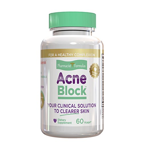 ACNE BLOCK - Natural Treatment for Smooth Complexion, Clears Blackheads, Pimples and Zits with DIM, Curcumin, Selenium and 5 more Anti Blemish Skin Care Ingredients, 30 Day Supply