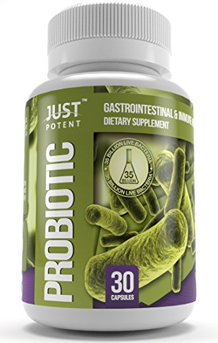 Just Potent Probiotic Supplement :: 35 Billion CFUs Per Capsule :: 8 Powerful and Essential Strains :: Guaranteed Potency & CFUs Through Expiration :: Survives Stomach Acid :: Shelf Stable :: 30 Caps