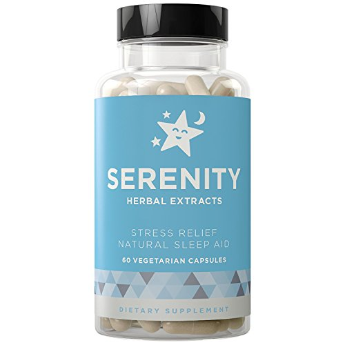SERENITY Natural Sleep Aid and Stress Relief - Relaxes Mind & Body, Fall Asleep Fast Without Waking Up Groggy - Non-Habit Forming - Magnesium, Valerian, Chamomile - 60 Vegetarian Soft Capsules