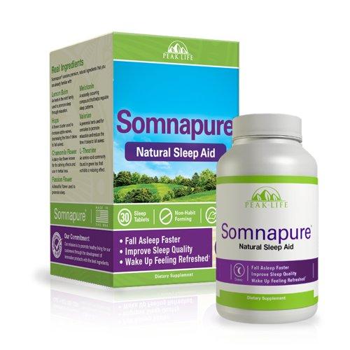Somnapure Natural Sleep Aid with Melatonin, Valerian, and Chamomile, Non-Habit-Forming Sleeping Pill, Fall Asleep and Stay Asleep, Peak Life, 60 Count