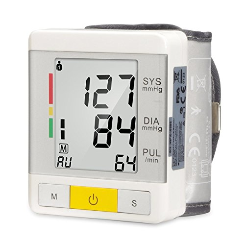 Urion Wrist Blood Pressure Monitor FDA Approved, WHO Classification Indicator, Accurate Readings 90 Memory Capacity 2 User Mode, Adjustable Wrist Cuff, Easy to read LCD Display
