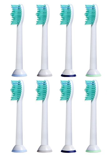iHealthia Soni-Care Brush Heads, 8-pack, Replacement For Philips Sonicare Toothbrush ProResults HX6013, Fits Flexcare, DiamondClean, Plaque Control, Gum Health