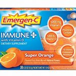 Emergen-C Immune+ (30 Count, Super Orange Flavor) System Support Dietary Supplement Drink Mix With Vitamin D, 1000mg Vitamin C, 0.33 Ounce Packets