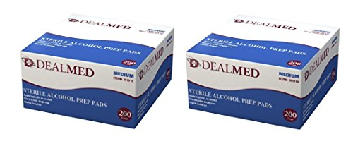 Sterile Alcohol Prep Pads, Antiseptic Latex Free Wipes, Gamma Sterilized, Pack of 400