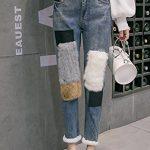 Rabbit waist jeans stitching nine female autumn and winter wind charming wide prednisone plus velvet harem pants banana pants feet for women girl