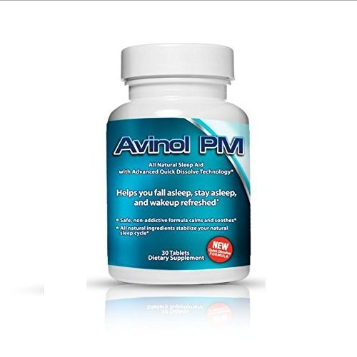 Best Natural Sleep Aid: Avinol PM | Herbal Formula for Better Sleeping | For a Deep Restful Night's Rest | Treatment for Jet Lag Insomnia Symptoms & Restlessness – with Melatonin Lemon Balm Passion Flower 5-HTP L-Theanine Chamomile