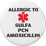 Allergic to Sulfa PCN Amoxicillin Medical Alert 2.25″ Keychain Allergy Health