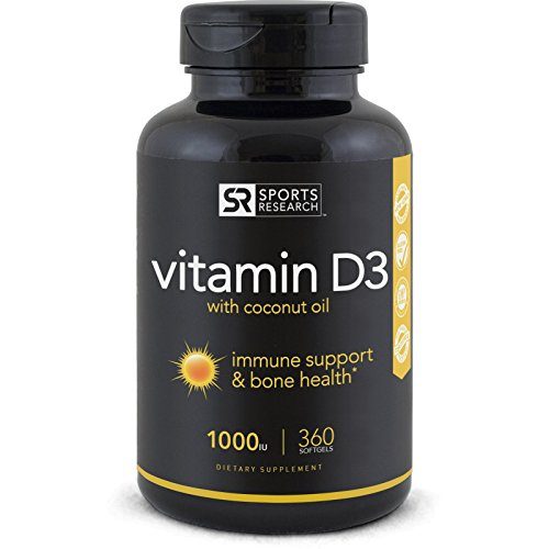 Vitamin D3 (1000iu) enhanced with Coconut oil for better absorption - 360 Mini-Softgels