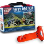 Ultra-Light & Small 100-Piece First Aid Kit in Durable Nylon Case w/ Bonus Emergency Auto Escape Tool! Kit is Ideal for the Car, Home, School, Camping, Hiking, Travel, Office, Sports, Hunting