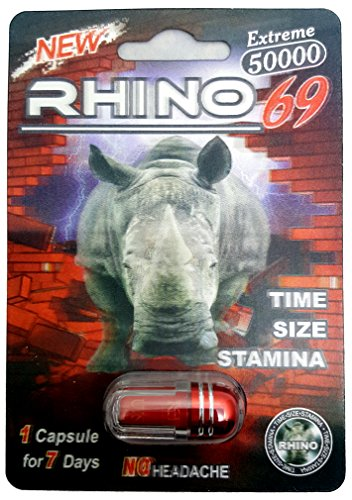 Rhino 50K Male Enhancement Supplement - Time Size Stamina - (5 Pack) (Red)