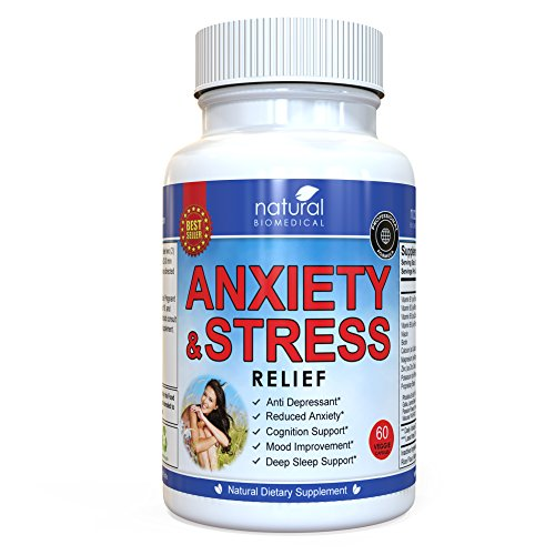 Anti Anxiety and Stress Relief Supplement by Natural Biomedical - All Natural Calming and Relaxing Pills for Daily Use - 60 Veggie Capsules