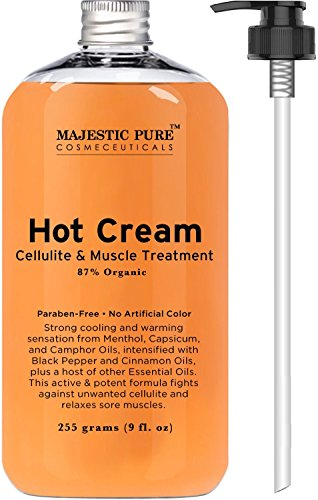 Majestic Pure Anti Cellulite Cream, 87% Organic Fat Burner Cream, Tight Muscles & Joint and Muscle Pain, Natural Cellulite Treatment - Soothes, Relaxes, and Tightens Skin - 9 Oz