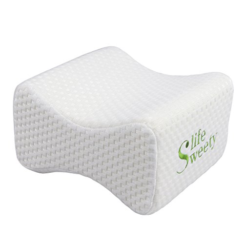 Sweetylife Knee Pillow for Back Pain Sciatica Relief Memory Foam Leg Pillow for Side Sleepers Sleeping With Breathable Zippered Cover