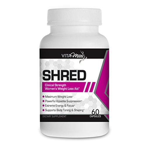 Vitamiss Shred – Maximum Strength Fat Burner Diet Supplement for Women- Shred Weight Fast While Increasing Energy and Mental Focus!