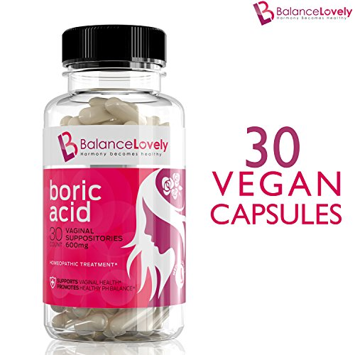 Boric Acid Suppositories -100% Pure Boric Acid - Made In USA - Supports Feminine Hygiene & Balance Vaginal pH - Treat Yeast Infections, Bacterial Vaginosis & Relieve Pain, Dryness, Effectively