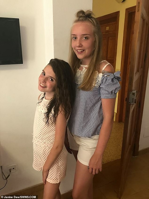 Grace's condition affects the whole family, her mother, who has quite her job to care for her, has said. Pictured with her older sister Ellie, 16