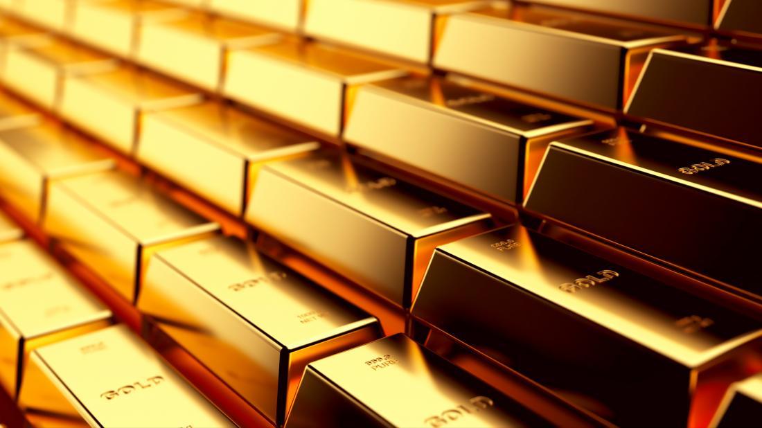 Gold bars shimmering