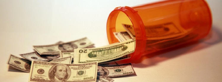 pill bottle with money leaking out