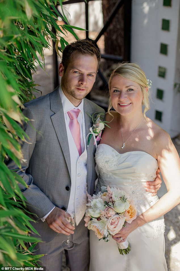 Rachel Molloy, 36, suffered from a ruptured splenic artery aneurysm - a rare complication of pregnancy- in the car park of the hospital at nine months pregnant. Pictured with her husband, Nick, on their wedding day in 2014
