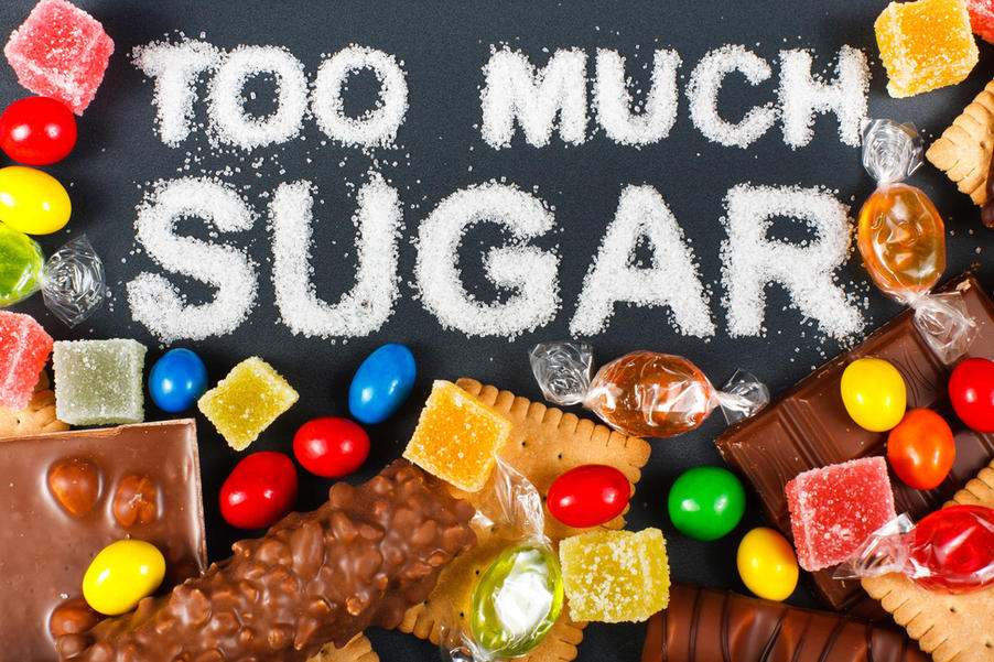 photo of candy and too much sugar written in sugar