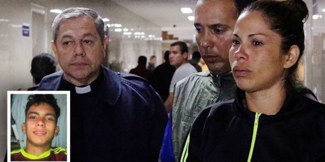 Adriana Parada, mother of Rufo Chacon who was left blind after police fired rubber bullets at his face, according to her and a doctor, walks at the Central Hospital of San Cristobal in San Cristobal, Venezuela.